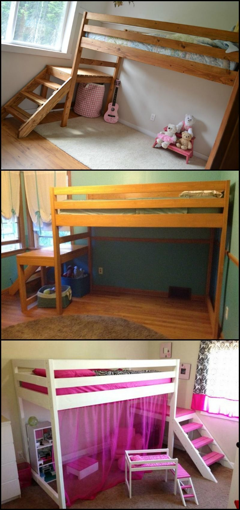 Loft beds for kids diy  How to build a loft bed with stairs  Maximize space Bed design and