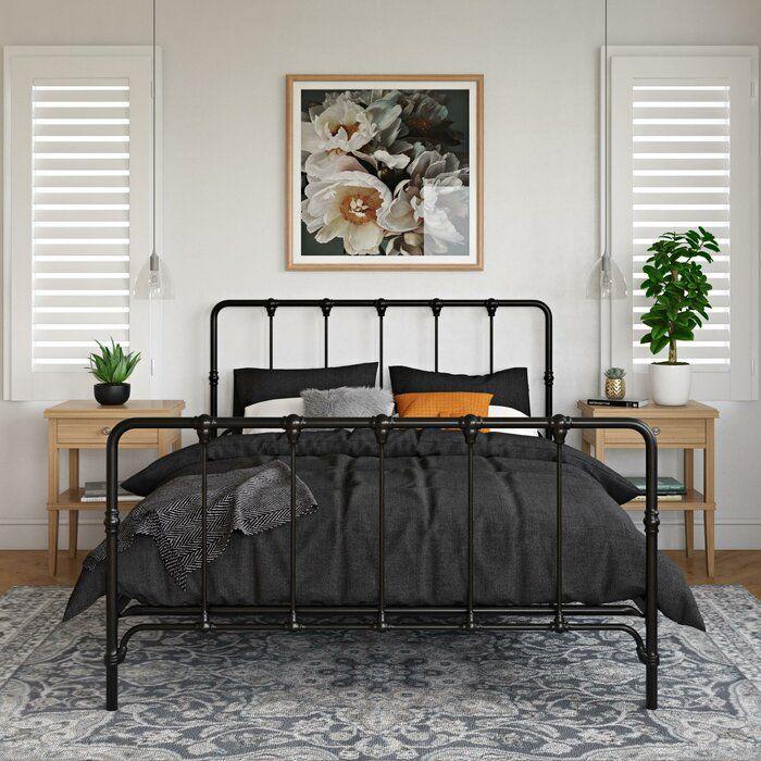 Viviana Farmhouse Metal Platform Bed In 2020 Metal Platform Bed Black Bed Frame Platform Bed Designs