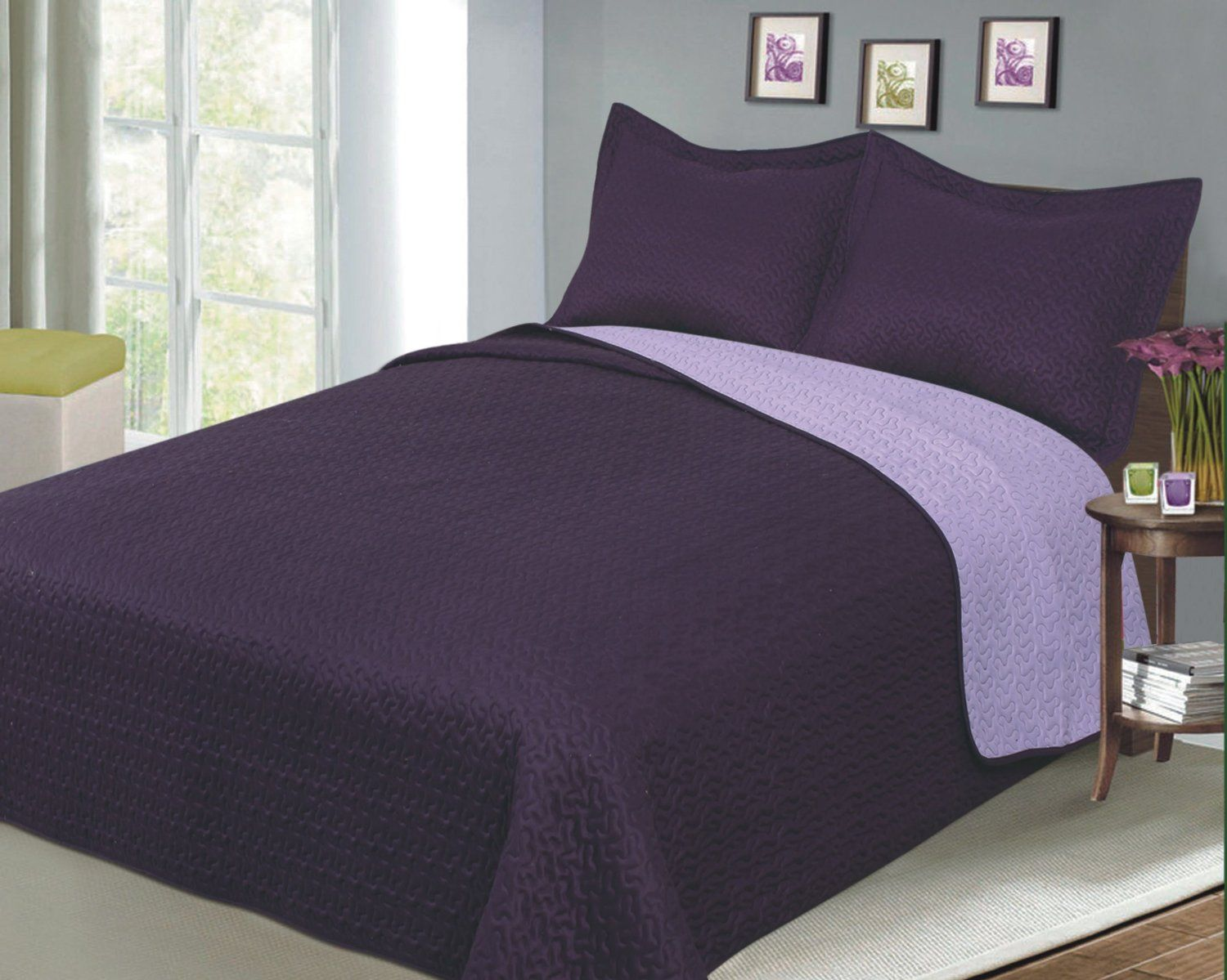 Reversible Solid Color Mini Quilt Sets, Twin, Plum/Lilac | Ease ... : solid quilt bedding - Adamdwight.com