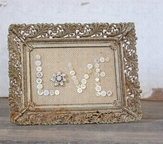 Burlap and Buttons and an antique frame