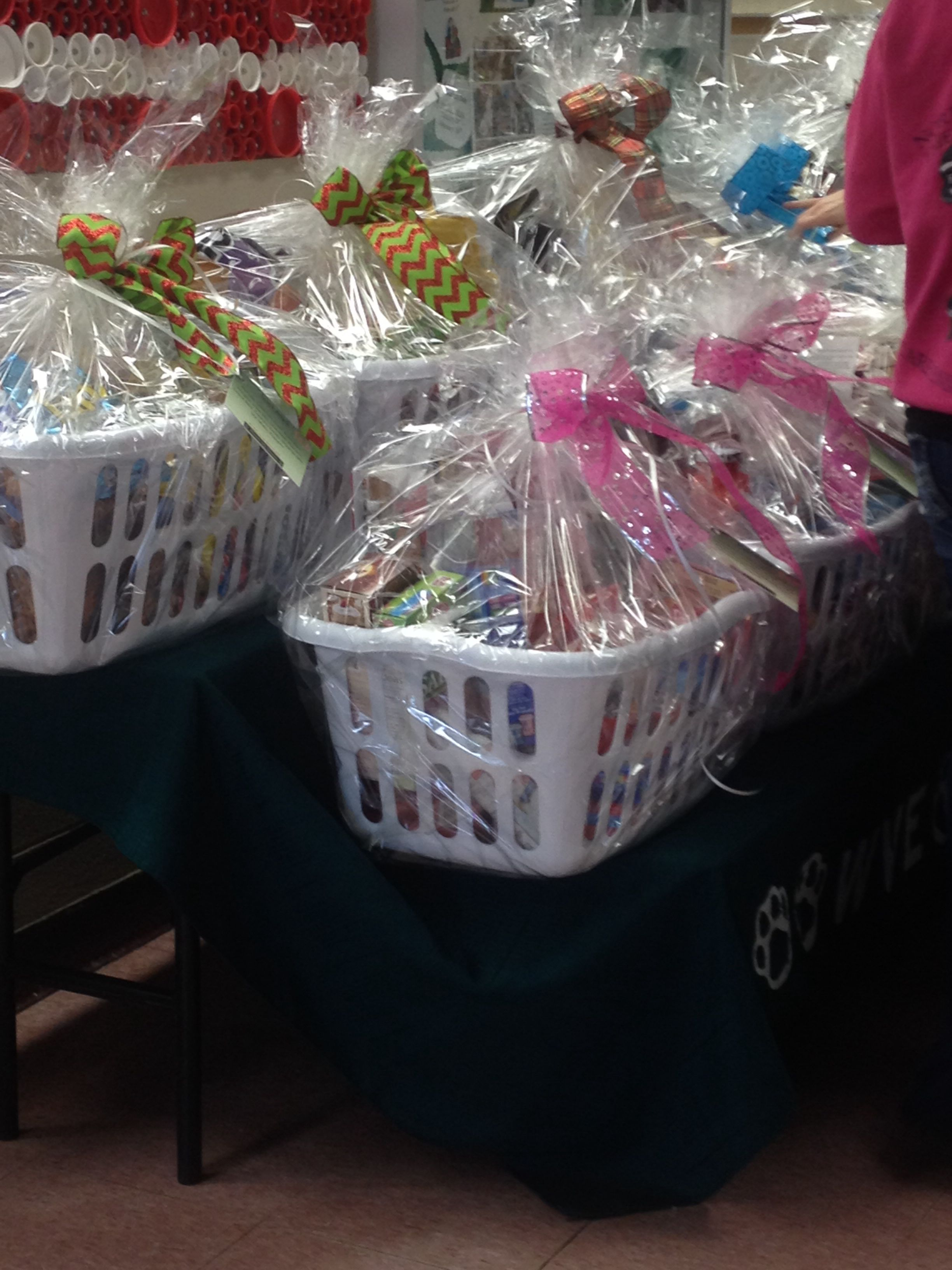 raffling baskets formed from laundry baskets