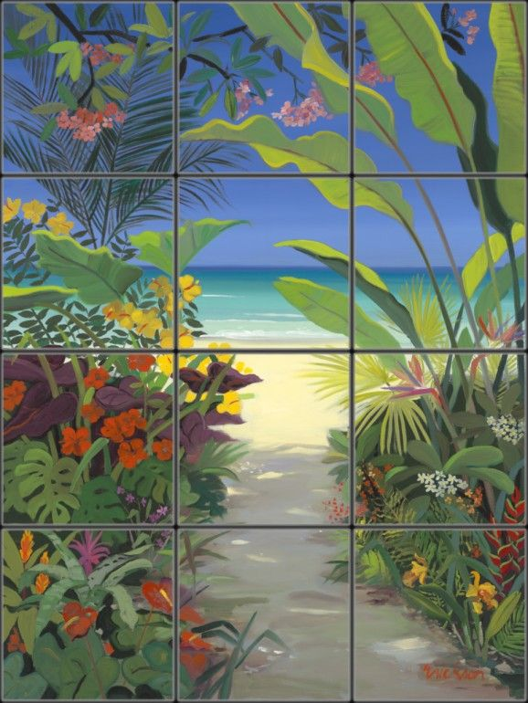 Tropical Tile Mural Pacifica Art Studio