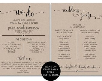 Wedding Programs Etsy Printable Wedding Programs Wedding Program Template Free Ceremony Program Template