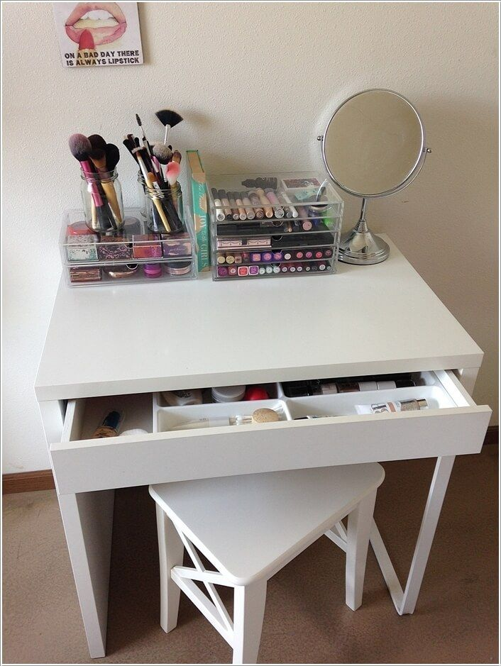 Ordinary Small Makeup Vanity Table Part - 4: Ikea Micke Desk Turned Into A Vanity ? Cute Small Vanity For Small Spaces