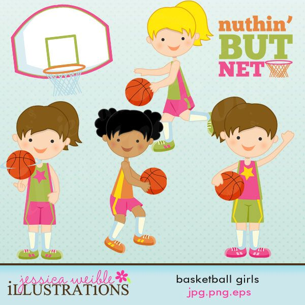 "Basketball Girls clipart set comes with 7 graphics including: four basketball girls, a basketball goal, a basketball and word art - ""Nuthin' But Net"" ."