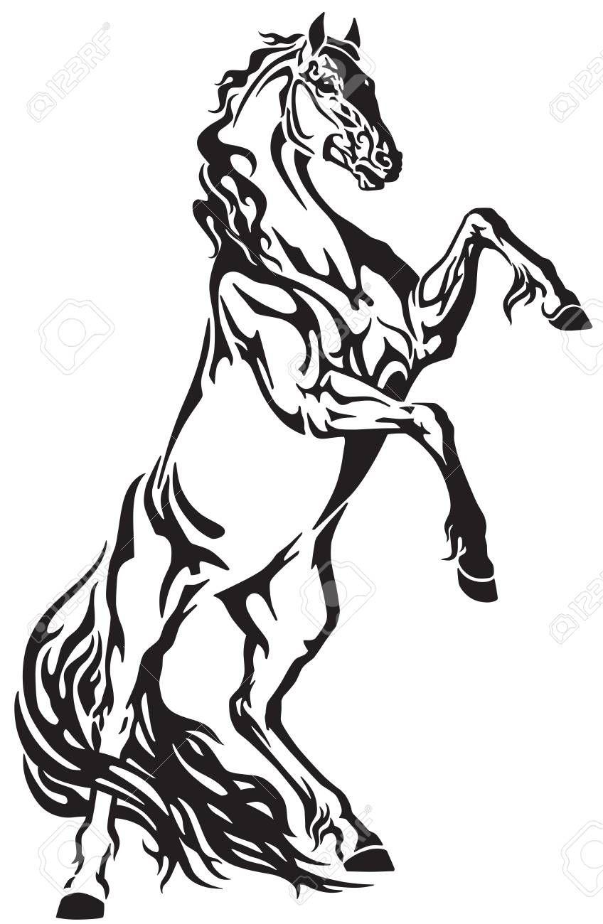 Stock Vector Tribal Tattoos Horses Horse Drawings