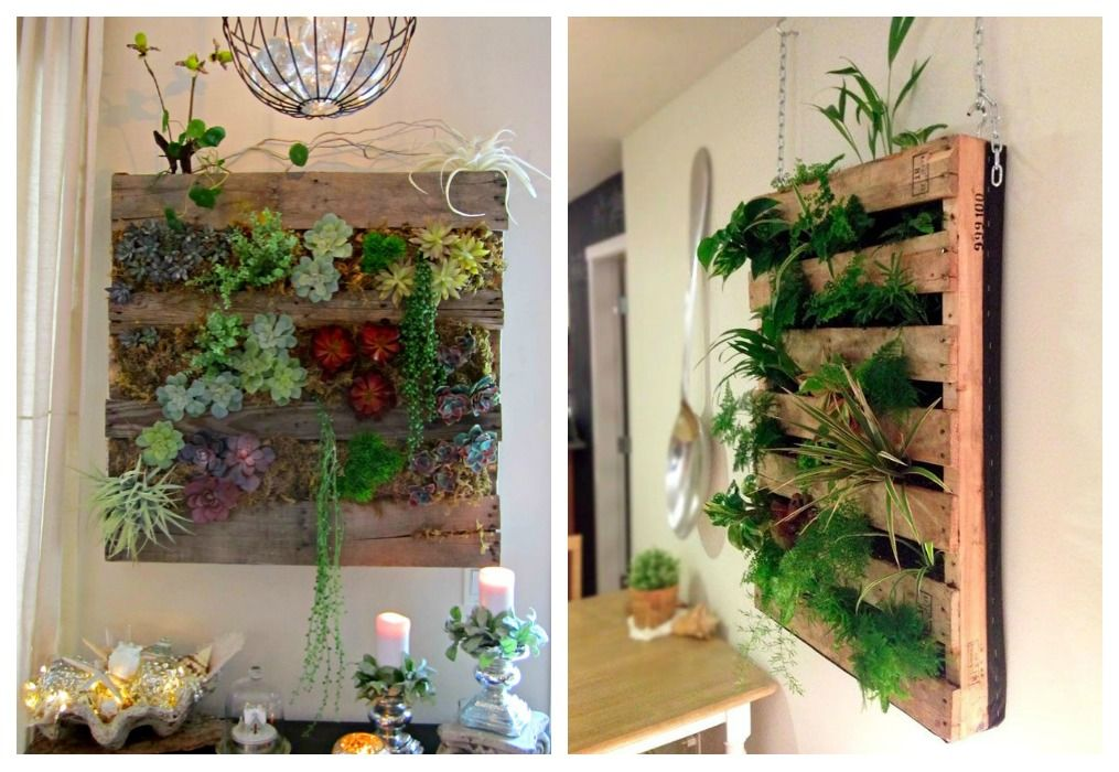Jardinera de palets Jardineras palets, Jardines verticales