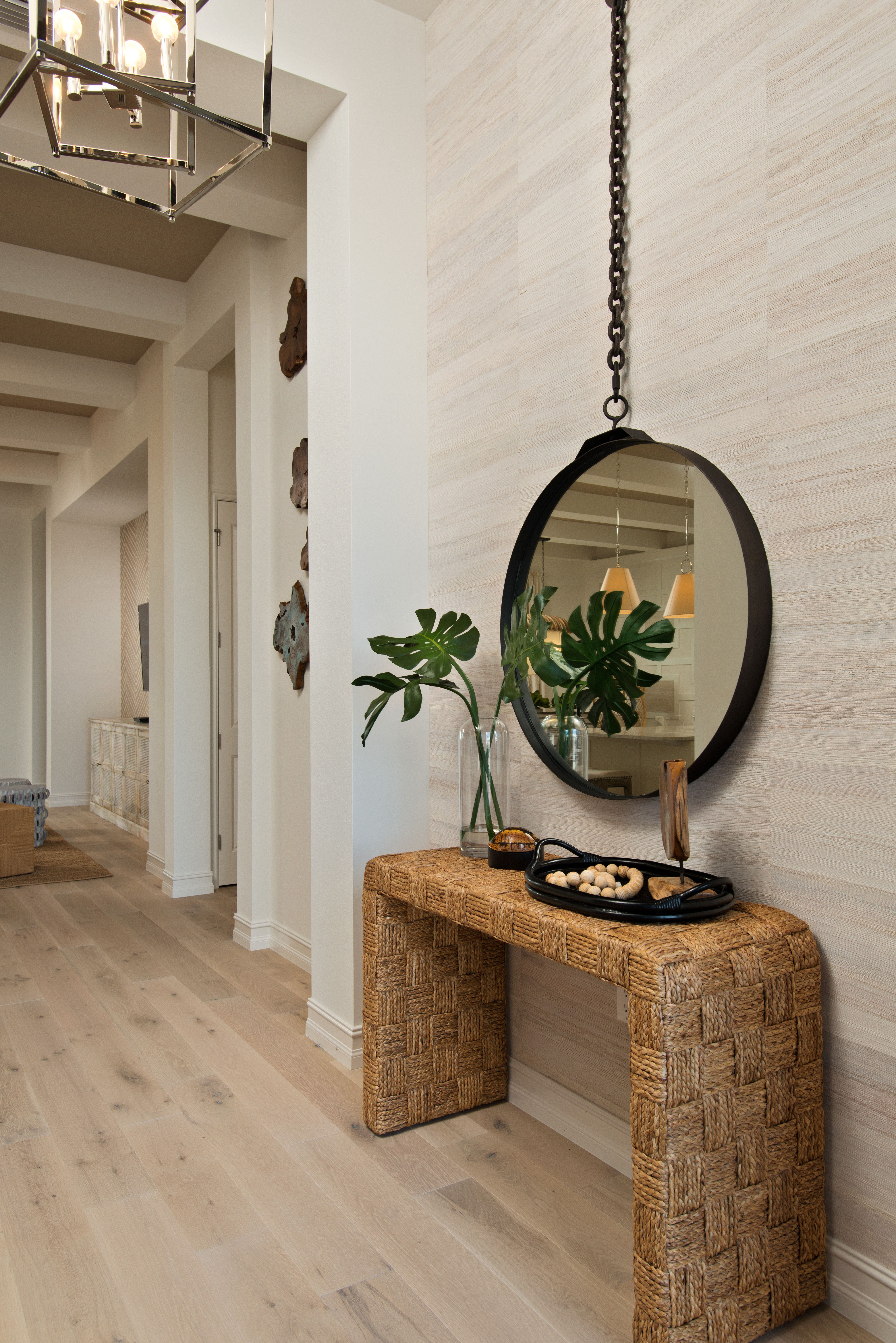 A Modern Take On A Cabana Bungalow Design This Beach House Features Phillip Jeffries Husk Wallco With Images Doctors Office Decor Coastal Interiors Design Bungalow Design