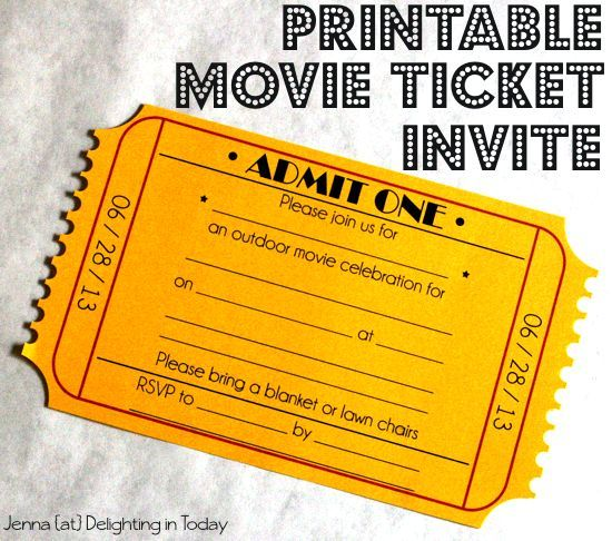 Free Printable Movie Ticket Invite (+ Video Tutorial On How To Create The  Edge)  Create A Ticket Template Free