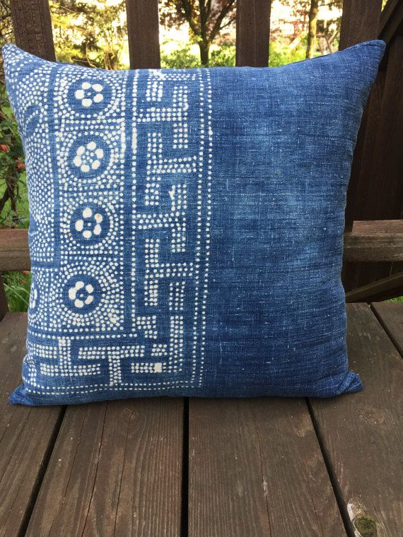 "18"" just one vintage Chinese Hmong Hill tribe batik pillow by NancyAnneDesigns"