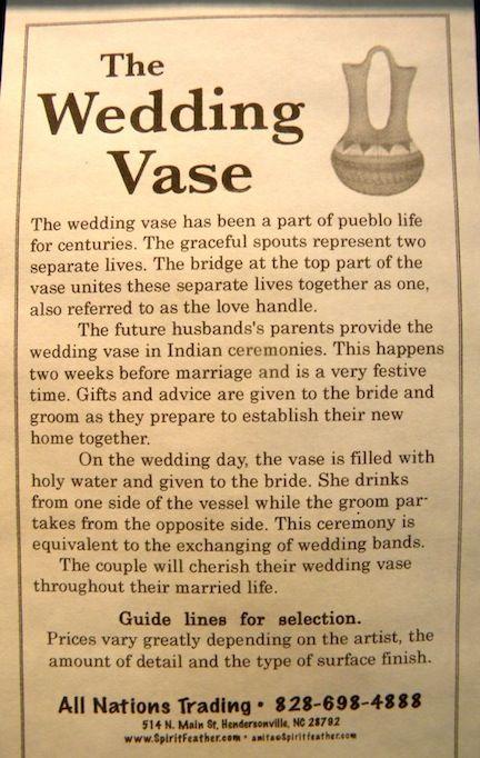 Cherokee Wedding Vase Weddinvaselegend Indian Ceremony Prayer Our Dream