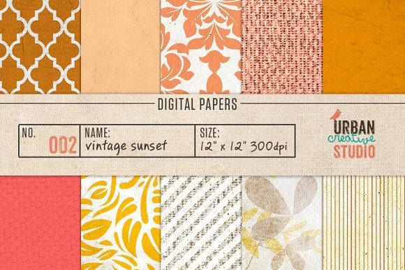 Get Sunset Digital Papers SVG