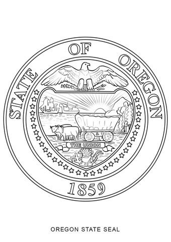 Oregon State Seal Coloring Page From Oregon Category Select From