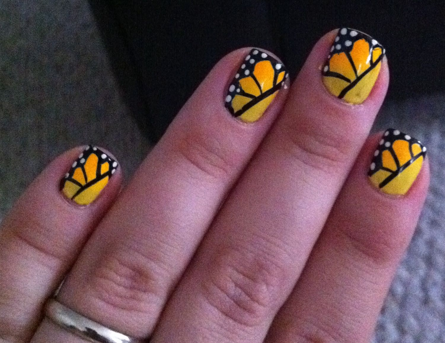 Migi nail art designs | My try at Lacquerized \'s monarch nails. used ...