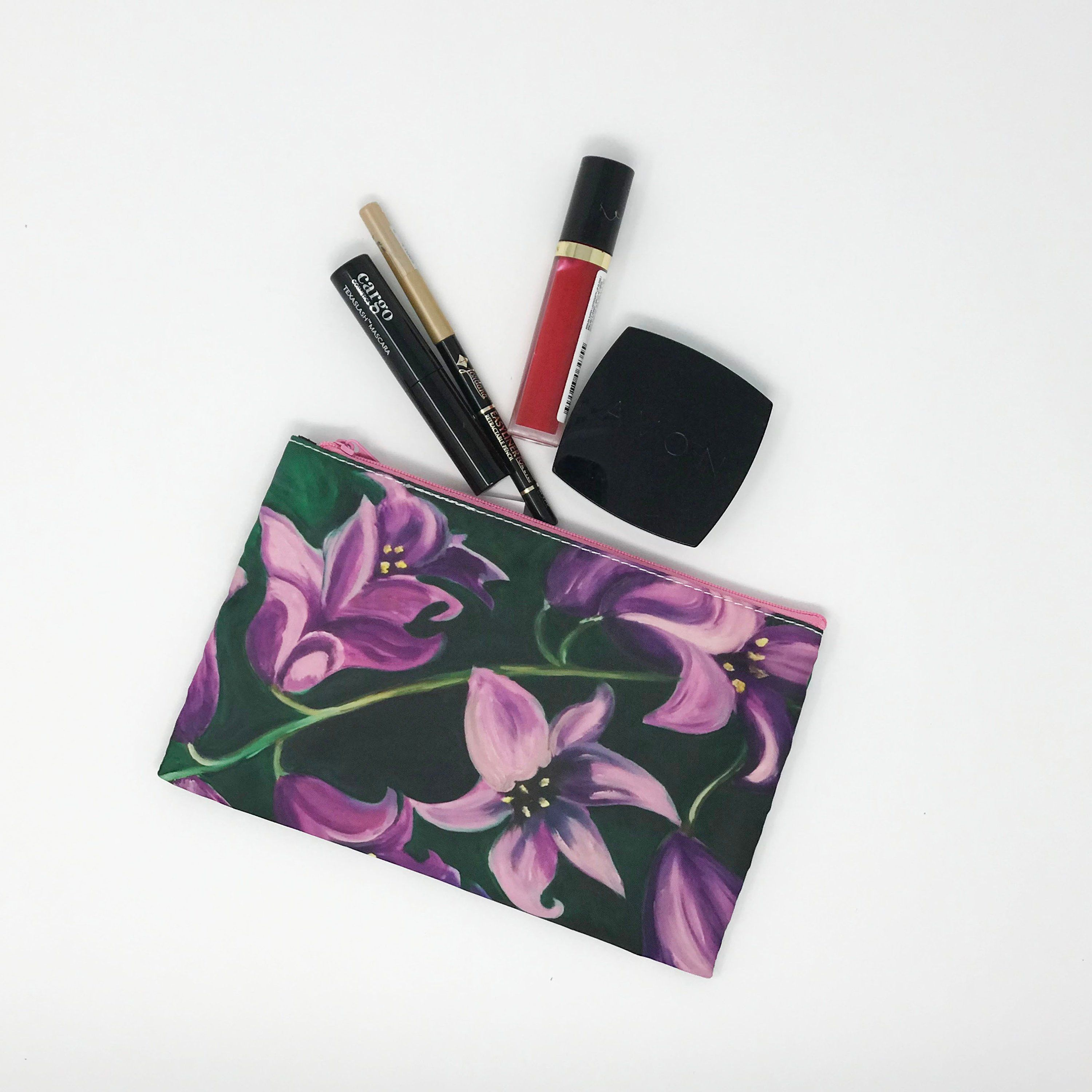 Cosmetic Makeup Bag, Floral Purple Wallet, Small Purse