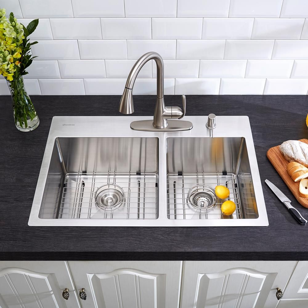 60 40 kitchen sink triangle cabinets glacier bay drop in stainless steel 33 4 hole double bowl all one basin satin 4168f the home depot