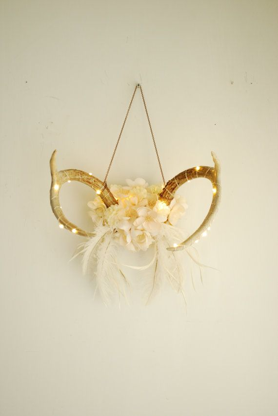 Real Lit Floral Deer Antlers - Mini Lights Wrapped White Flowers ...