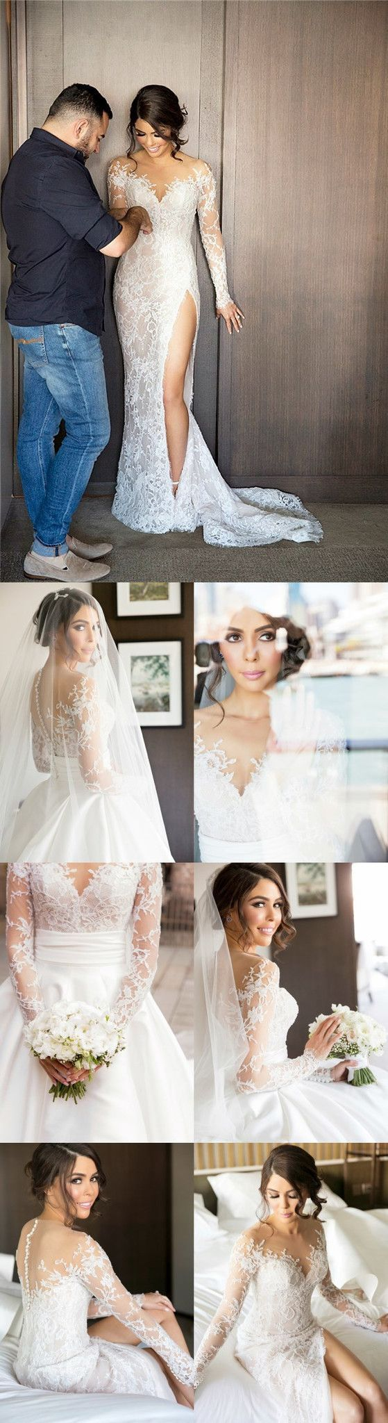 Lace button up wedding dress november 2018  Charming New Full Lace Split Wedding Dresses with Detachable