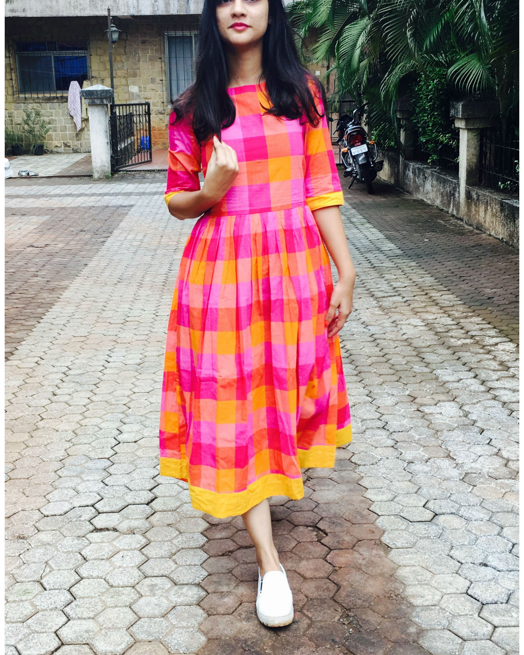Shop Pink And Yellow Checks Cotton Dress The Secret Label Casual Dress Outfits Casual Frocks Trendy Dresses [ 2500 x 2000 Pixel ]