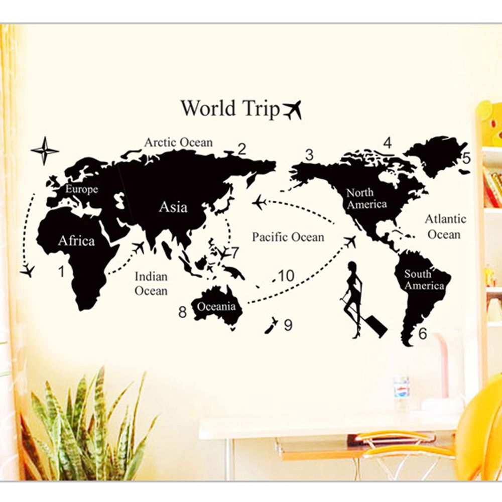 World trip map vinyl quote art wall sticker diy removable decal home world trip map vinyl quote art wall sticker diy removable decal home decor mural gumiabroncs Images