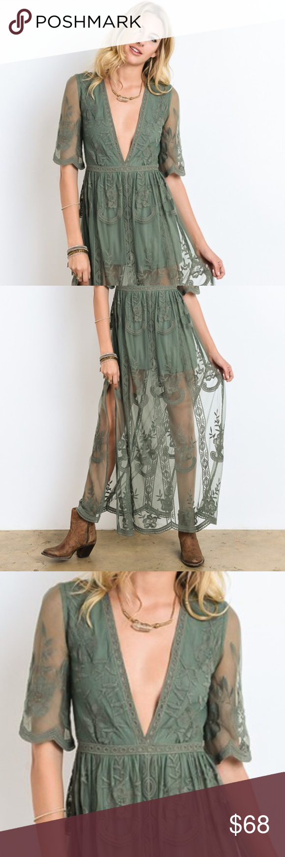 1dada8fcec3 PREORDER  SAGE LACE ROMPER SHEER EMBROIDERED LACE LINED MAXI DRESS -  EMBROIDERED FLORAL MESH LACE