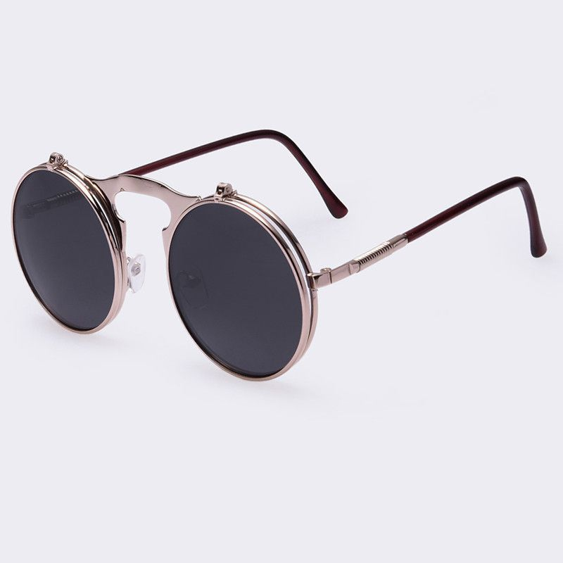 b8aa1be677a Vintage Steampunk Sunglasses round Designer steam punk Metal Oculus Coating  Mens Retro Circle Sunglasses
