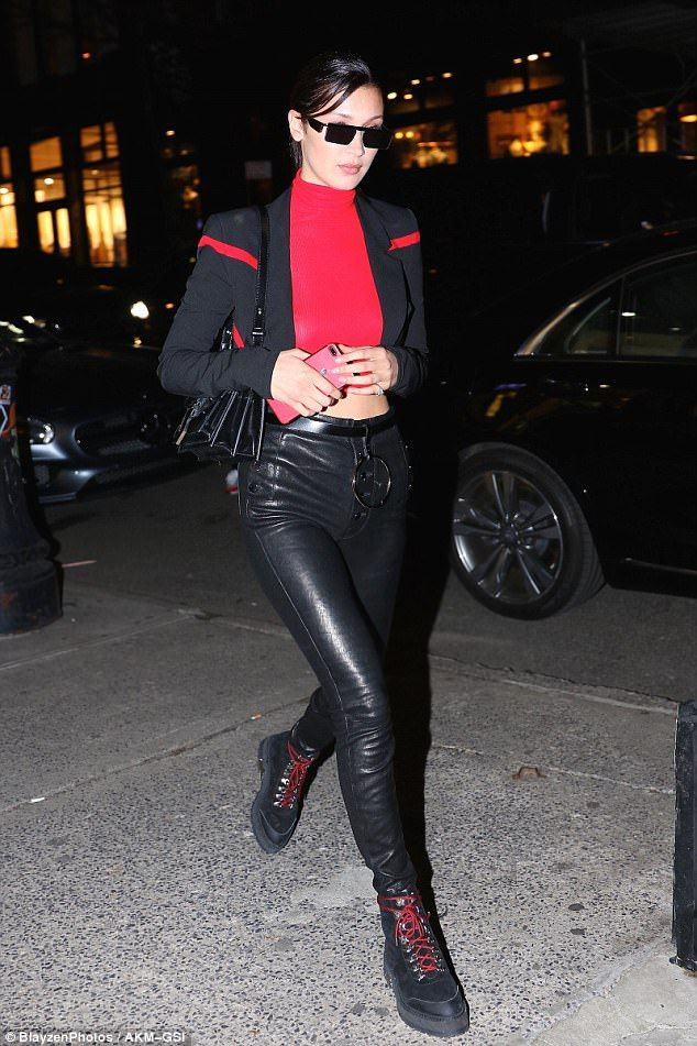 aef6026030 All of the lights  Bella Hadid hid behind sunglasses as she slipped out in  New York on Wednesday night