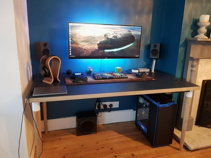 43 Tiny Office Space Ideas To Save Space And Work Efficiently Video Game Rooms Game Room Design Gaming Room Setup