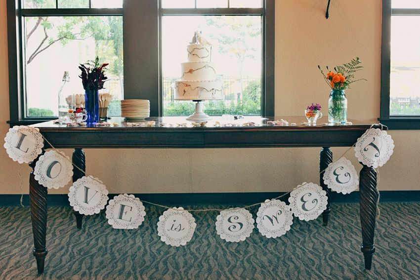 doily banner. simple table setting