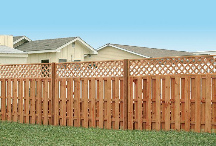 Outdoor Essentials Lattice Top Shadowbox Fence Color Treated Outdoor Essentials Wood Fence Outdoor