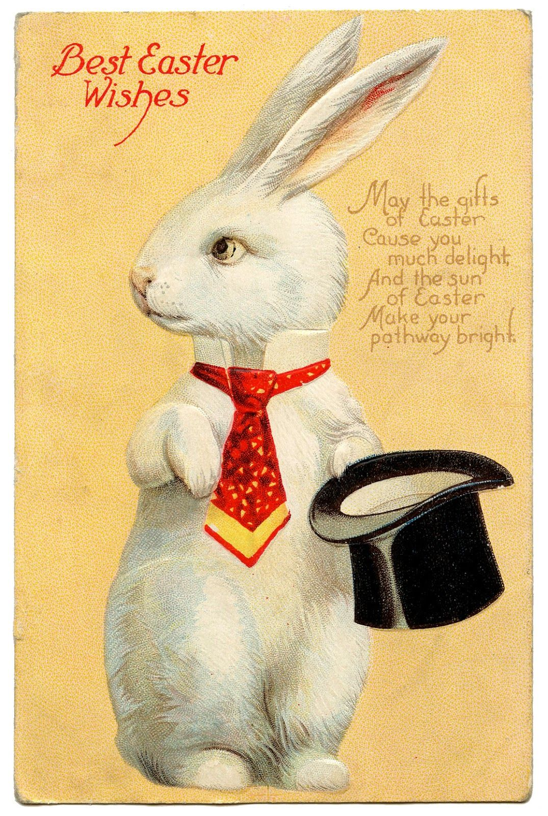 Vintage easter image quirky white rabbit with hat vintage vintage easter image quirky white rabbit with hat negle Image collections