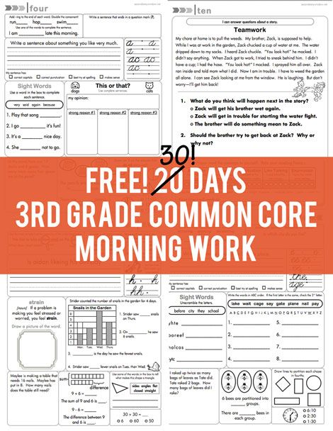 FREE 30 days of 3rd grade common core morning work from