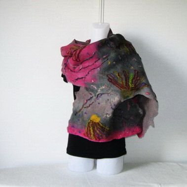 Felted Scarf Wrap Shawl Felt Grey Fuschia by Yadviga on Etsy
