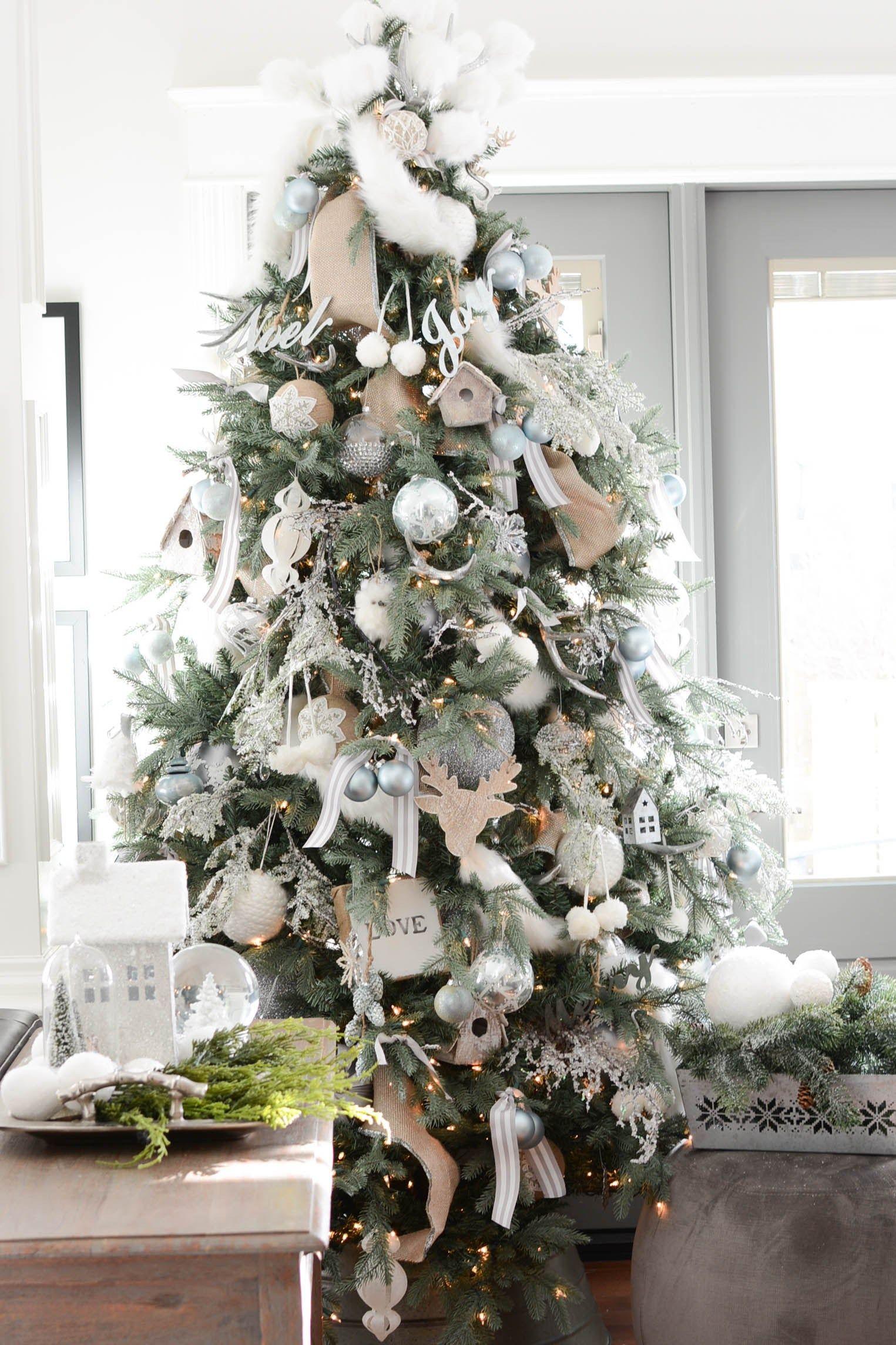 White Christmas Theme Decor Tips Ideas Home Tour A Pop Of Pretty Ribbon On Christmas Tree Beautiful Christmas Trees White Christmas Tree Decorations