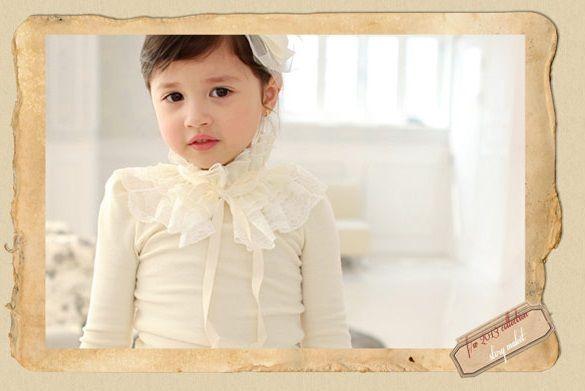 韓國童裝品牌STORYMARKET~公主高領蕾絲上衣 (象牙白色)3~13號