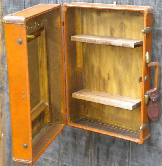 Upcycled Bathroom Ideas: Vintage Upcycled Suitcase Medicine Cabinet By
