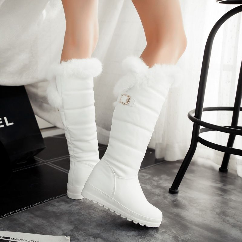 Womens Ankle Boots Fur Lined Winter Warm Snow Boots Slip On Wedge Heel Shoes