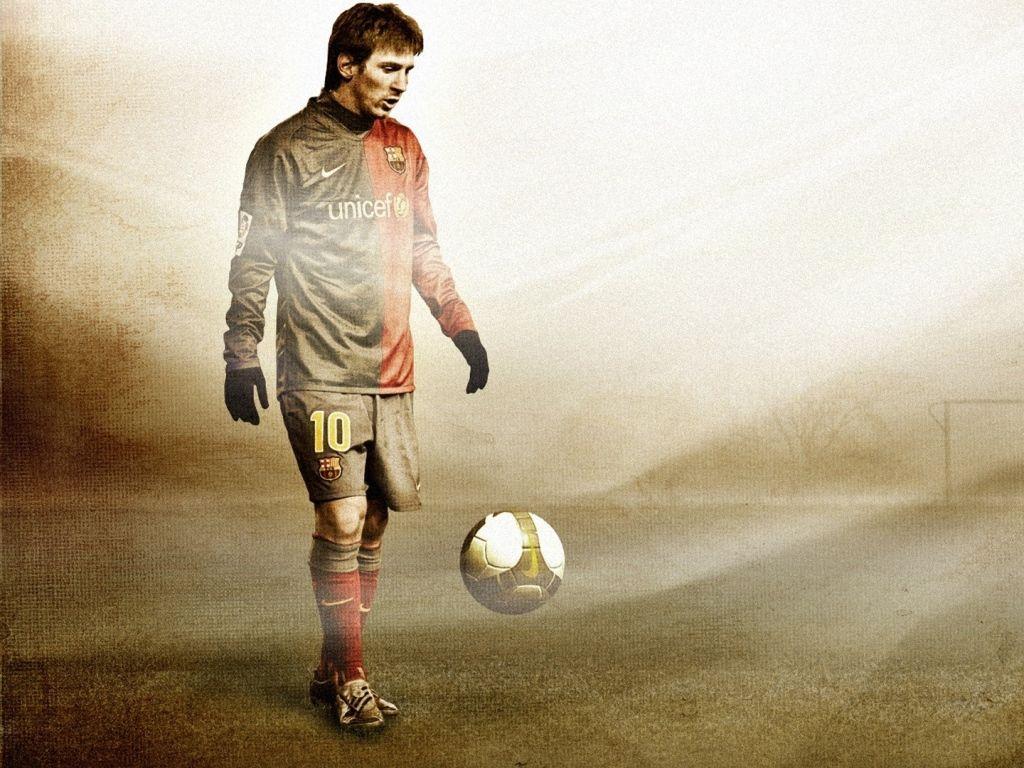 Download Wallpaper 1024x768 Lionel Messi Football Ball Field