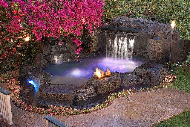 Tropical Spa Waterfall Tropical Landscaping Alderete Pools Inc San Clemente Ca Backyard Pool Backyard Spa Pools For Small Yards