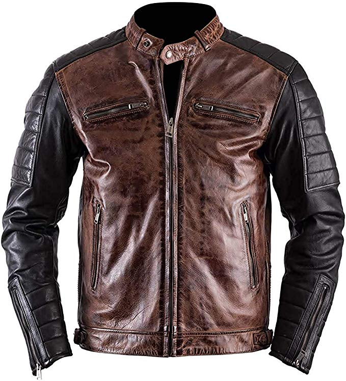 Cafe Racer Quilted Antique Brando Motorcycle Leather