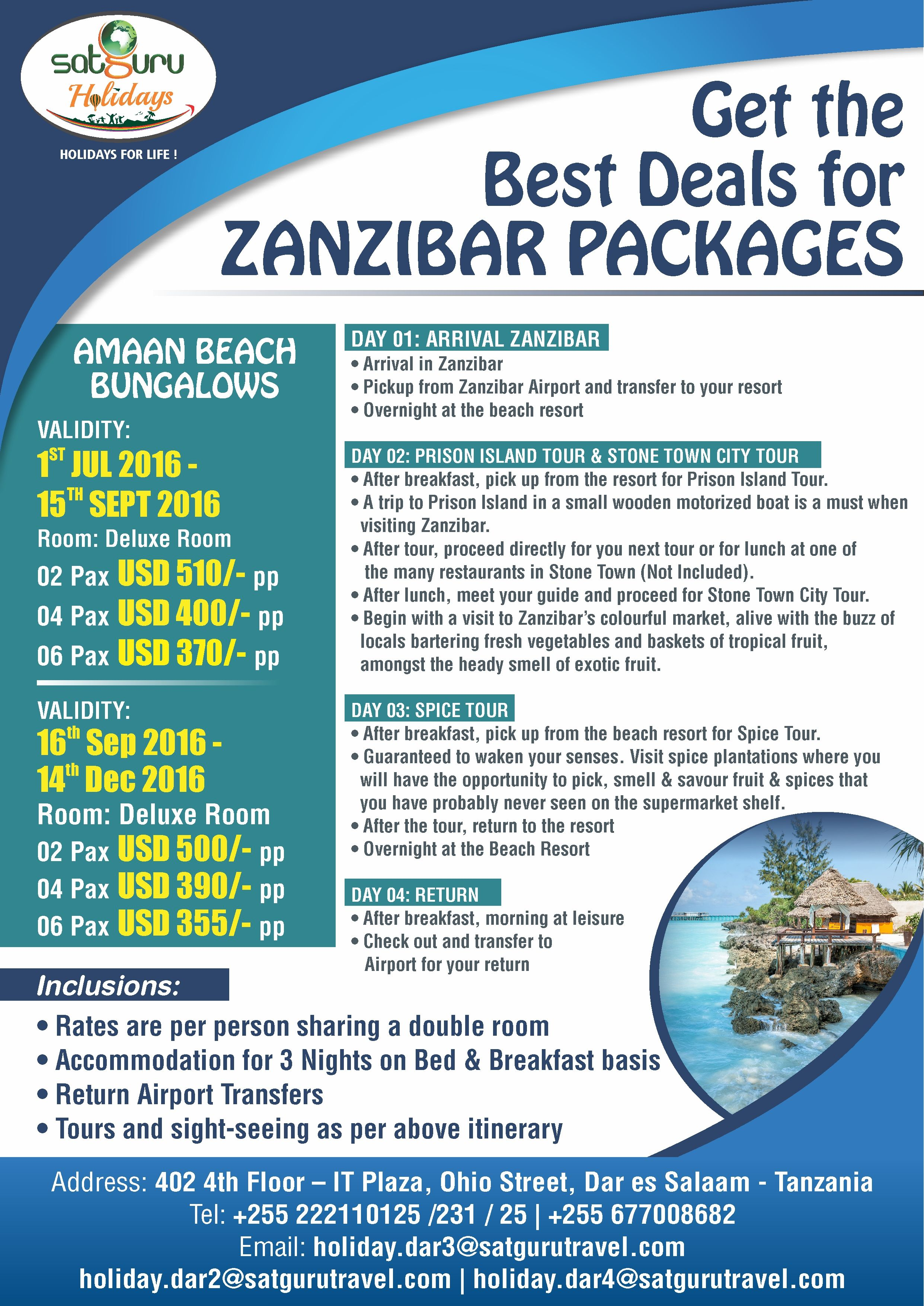 Get the best deals on Zanzibar Holiday Package  Zanzibar