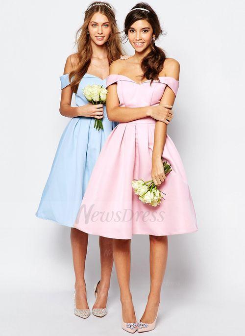 A-Line Princess Off-the-Shoulder Knee-Length Ruffle Satin Zipper Up  Strapless Sleeveless No Sky Blue Candy Pink Spring Summer Fall Pink  Bridesmaid Dress a2f329682