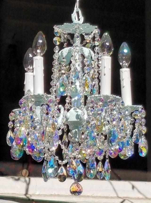 Vintage petite aqua and aurora borealis crystal chandelier pale aqua chandelier vintage lighting