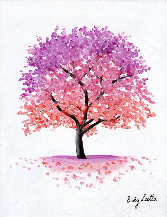 Custom Original Tree Oil Painting Any Colour Woodland Trees Tree Watercolor Painting Blossom Tree Tattoo Tree Painting Easy