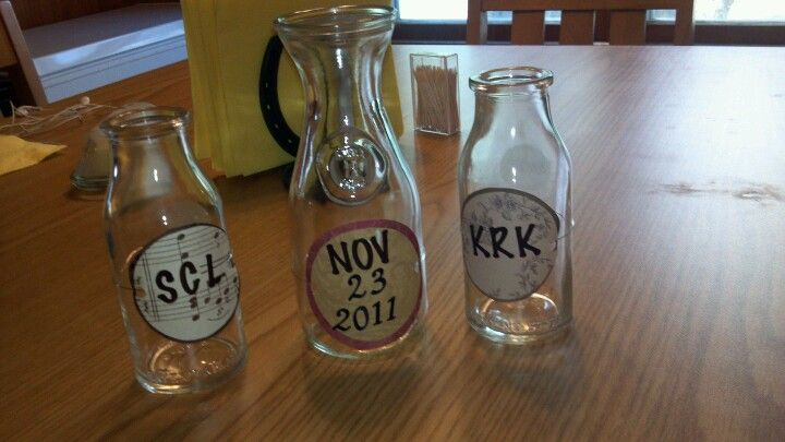 Milk bottles used for unity sand or dirt from own arenas
