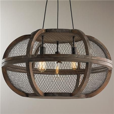 Round Rustic Chandeliers rustic wooden cage chandelier | chicken wire, chandeliers and