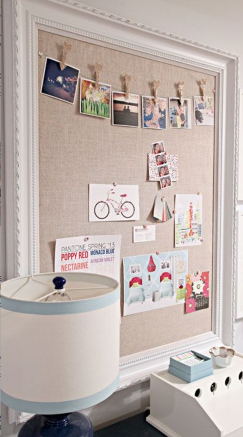 How About This Fabric Covered Bulletin Board In A Recycled Frame Good For Kitchen Home Office But Maybe Kids Rooms Too