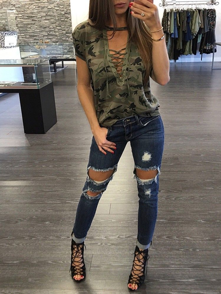 4f0f48528e Women Stylish Camouflage Lace-up Casual Top | Clothes | Fashion ...