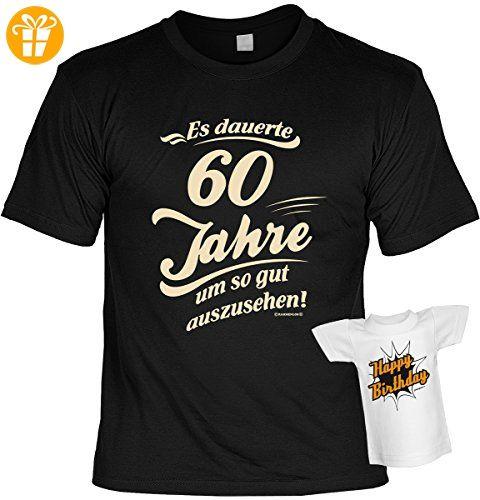 Cooles Geburtstagsgeschenk Leiberl für Männer T-Shirt Set mit Mini T-Shirt Es dauerte 60 Jahre um so gut auszusehen! Leibal zum Geburtstag (*Partner-Link)