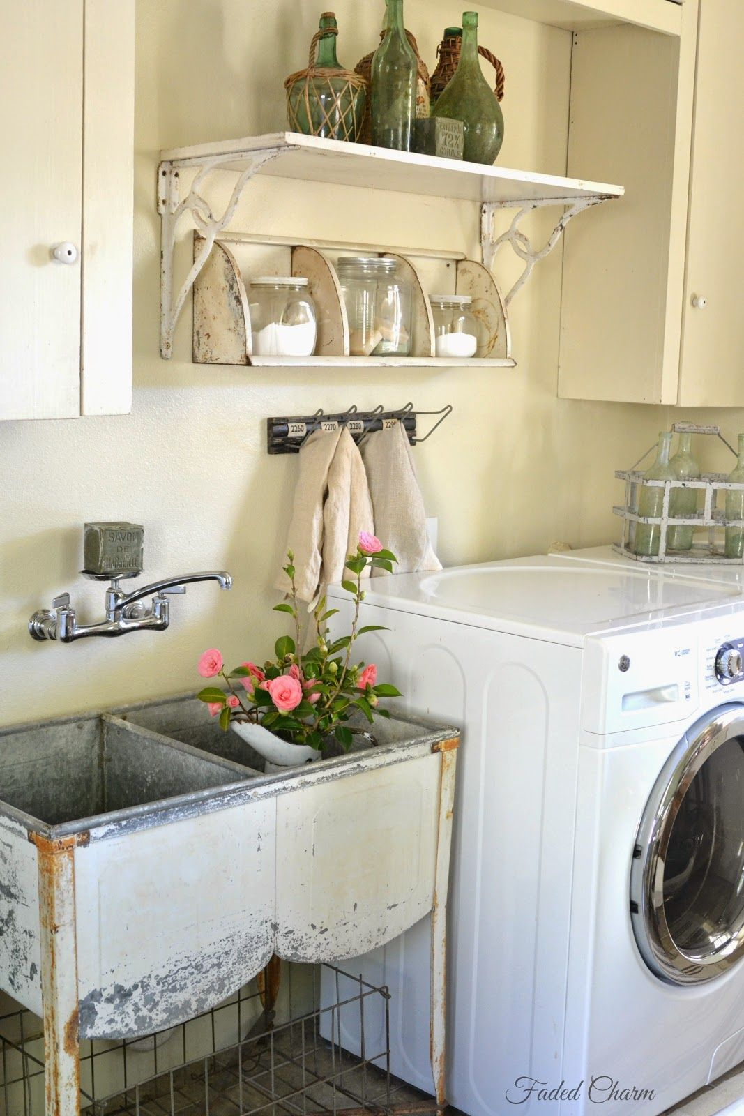 Country Laundry Room Decorating Ideas Part - 27: Faded Charm: ~Laundry Room Essentials~old Galvanized Sink